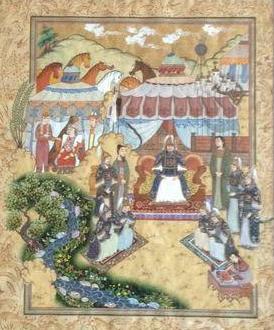 Чингисхан, его полководцы Джебе и Субудай, советник Елу Чу Цай, жена, дети и слуги