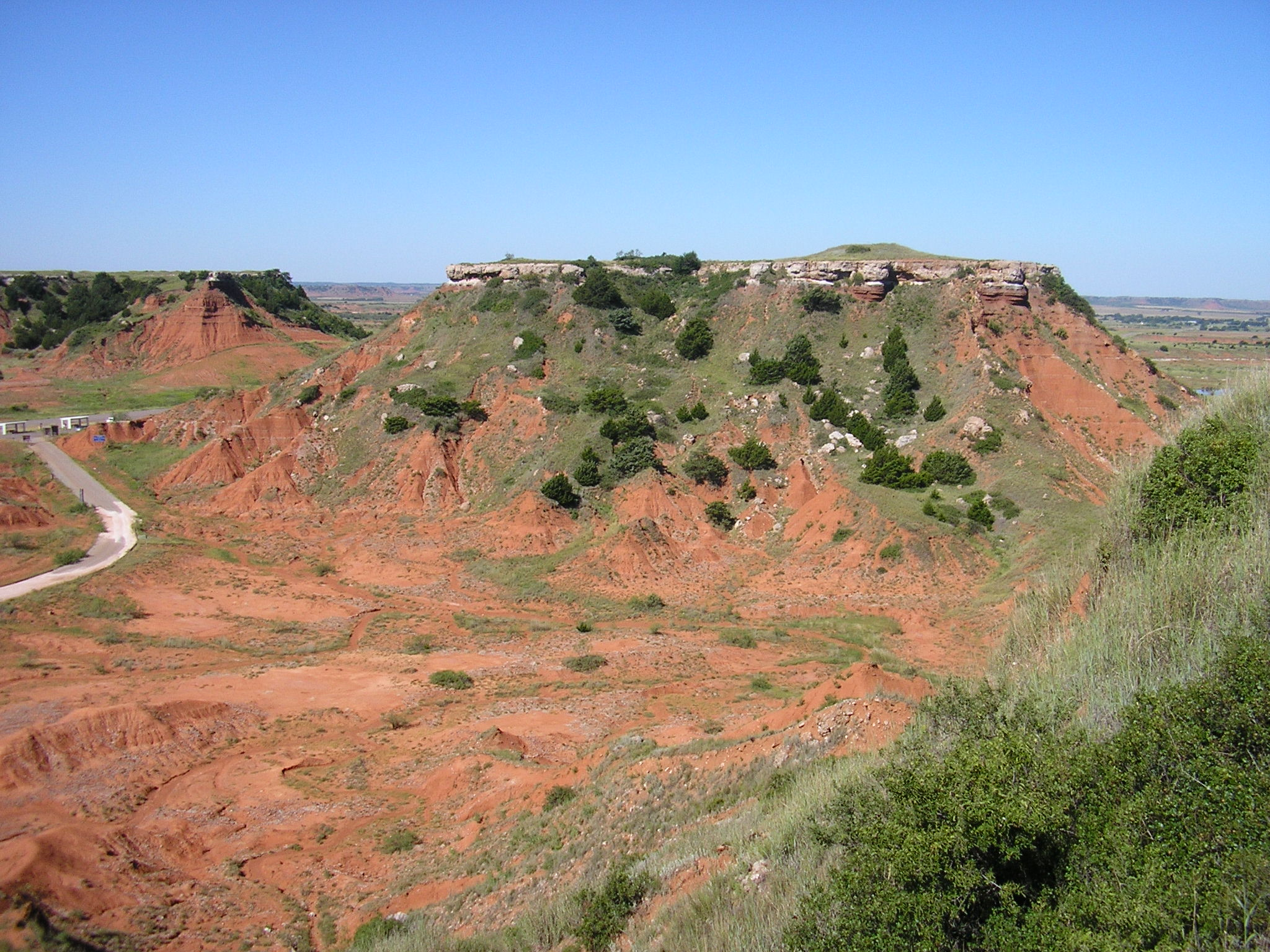Mesas rise above one of Oklahoma's state parks.