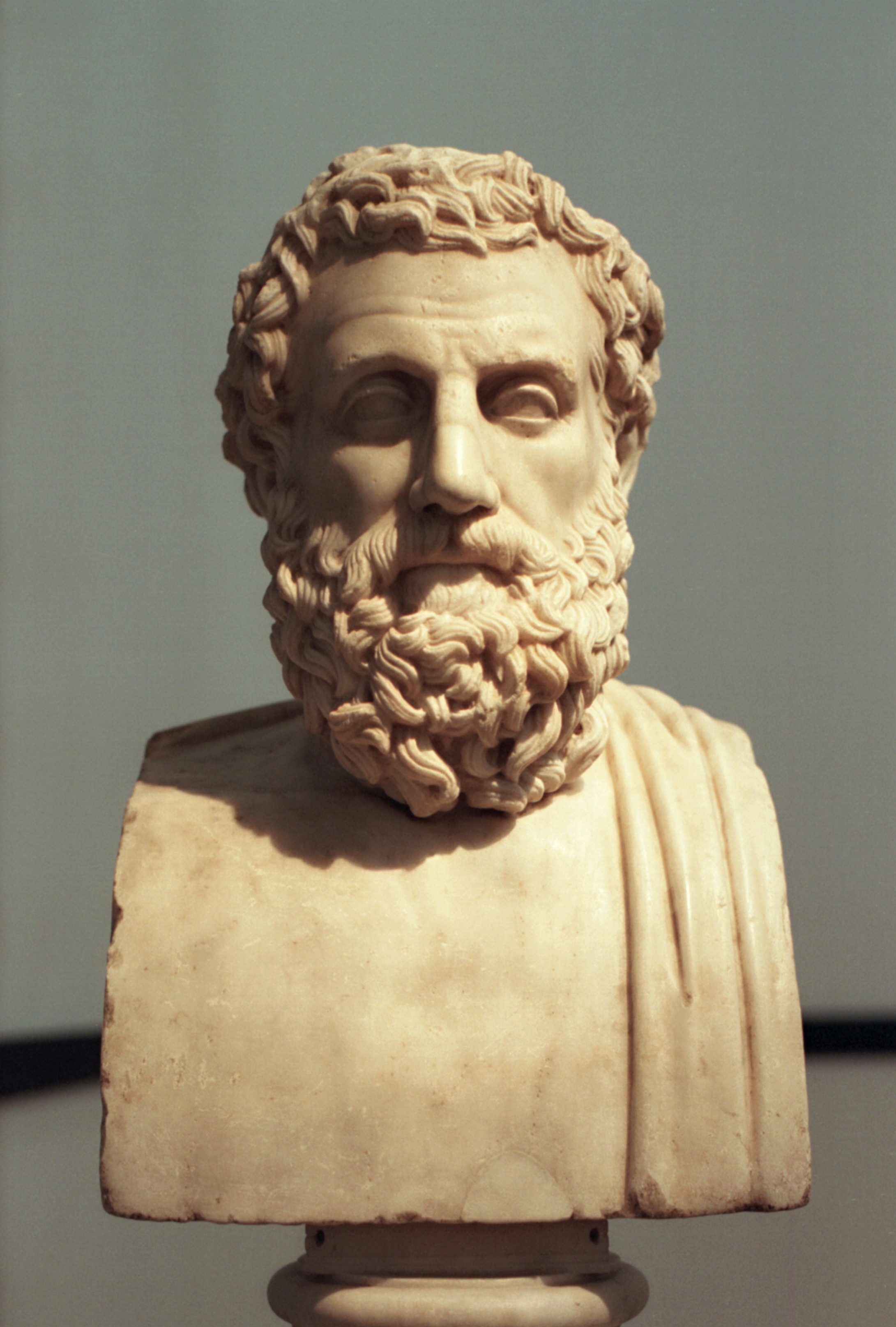Roman marble ''[[herma]]'' of Aeschylus dating to {{circa}} 30 BC, based on an earlier bronze Greek ''herma'', dating to around 340-320 BC