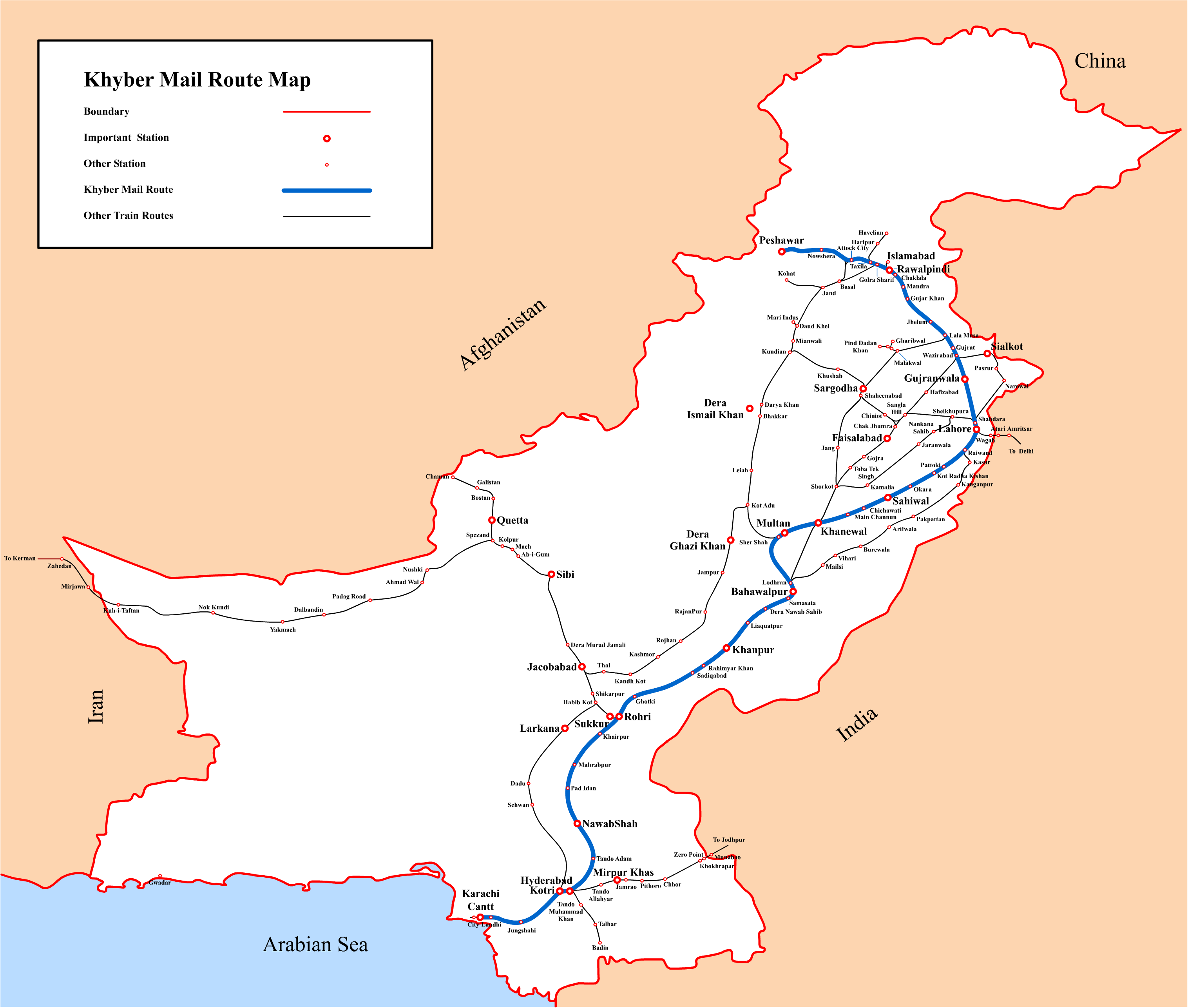 Khyber Pass Map Khyber Mail (passenger train)   Wikipedia