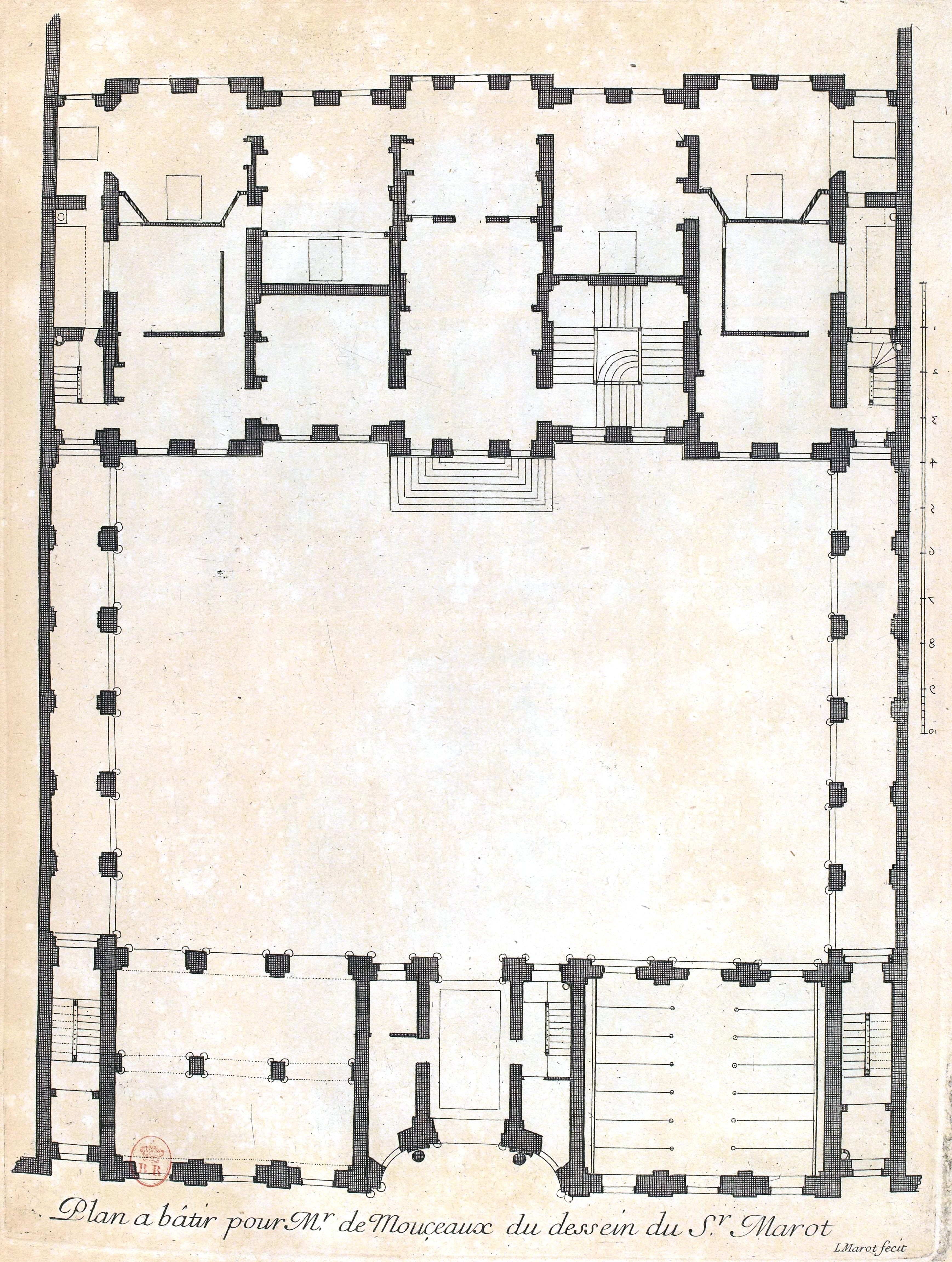 File L Architecture Francaise Marot Bnf Res V 371 046r F99 Maison De Mr De Monceaux Plan Adjusted Jpg Wikimedia Commons