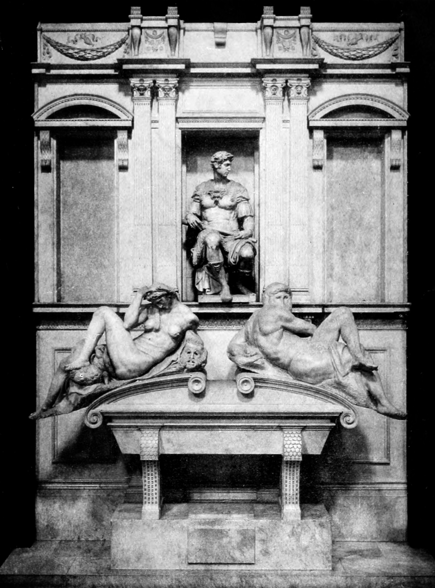 Tomb of Giuliano de Medici featuring Night and Day by Michelangelo in the Medici Chapel, Florence, Italy