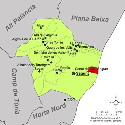 Mapa Canet De Berenguer.Imachen Localitzacio De Canet D En Berenguer Respecte Del