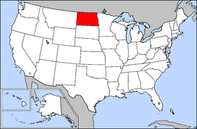 Map of the United States with North Dakota highlighted