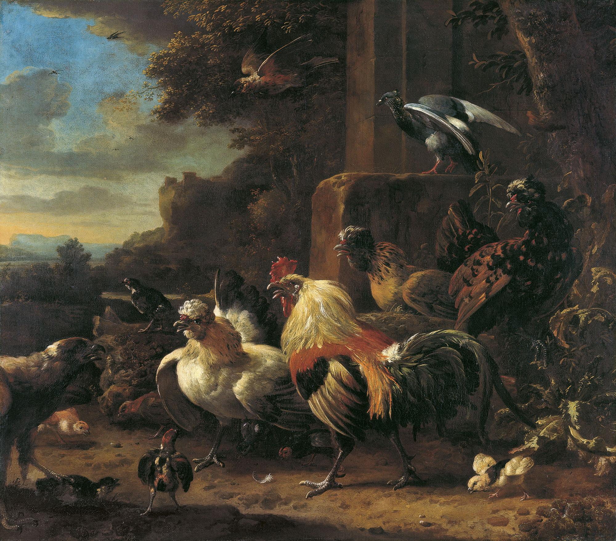 File Melchior De Hondecoeter Paisaje Con Aves De Corral