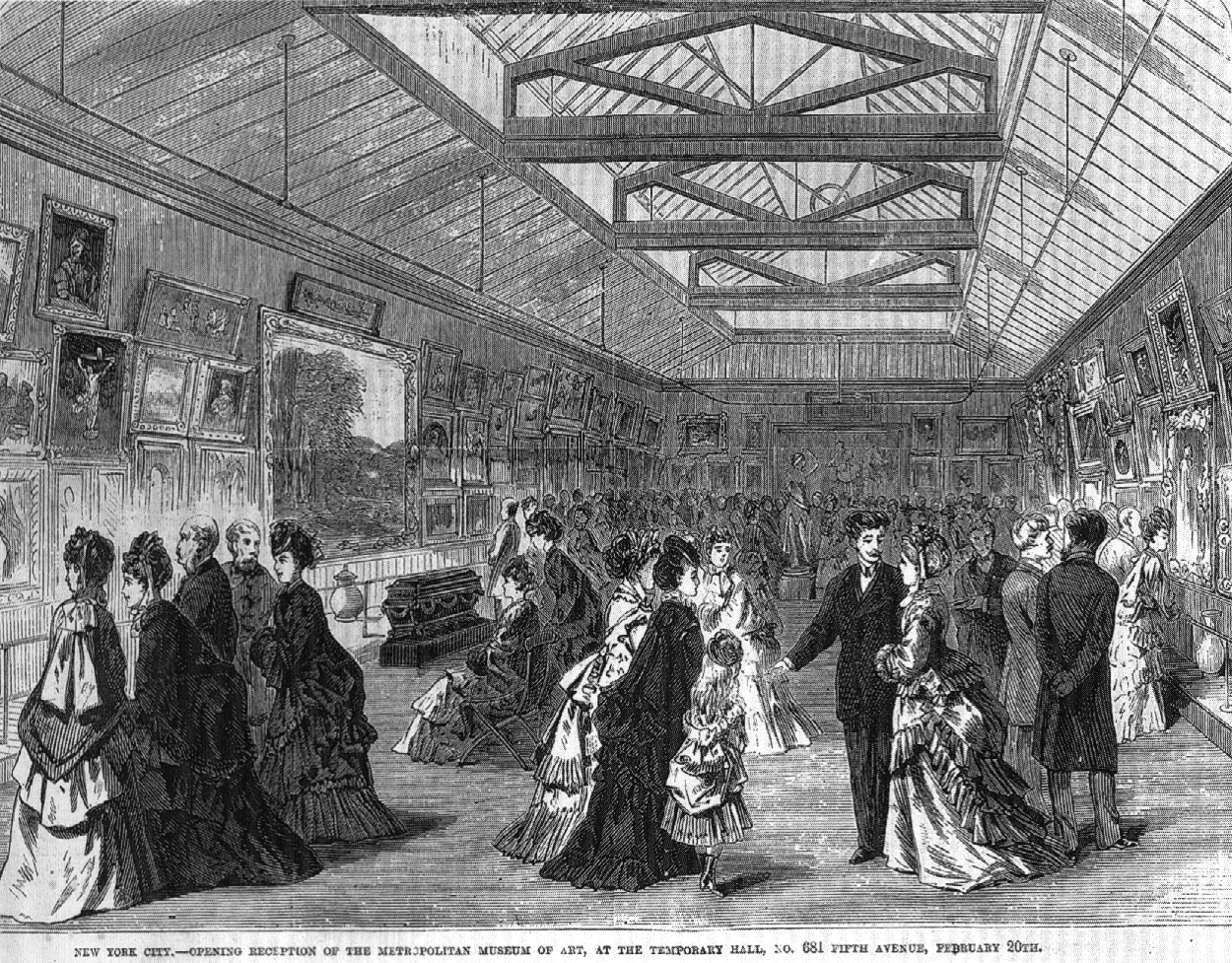 Opening reception in the picture gallery at 681 Fifth Avenue, February 20, 1872. Wood engraving published in Frank Leslie's Weekly, March 9, 1872.
