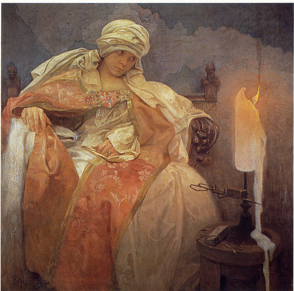 File:Mucha, Alfons - Woman With a Burning Candle.jpg ...