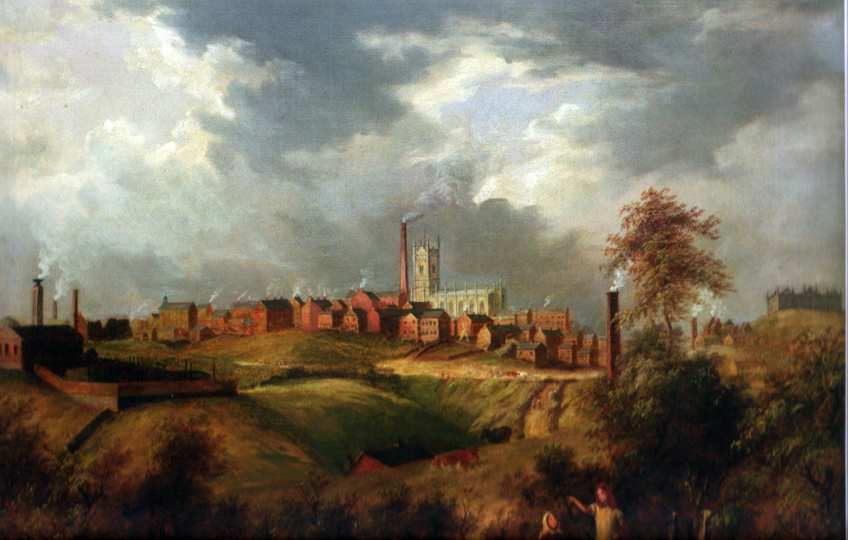 Oldham, painted during the Industrial Revolution. Many towns in Greater Manchester were built around the mills.