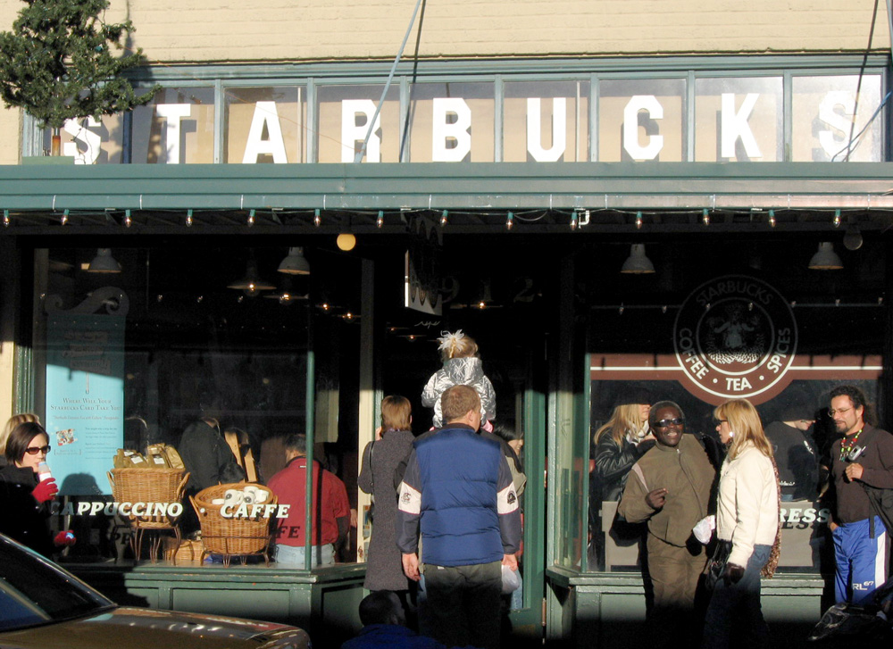 The Starbucks store at 1912 Pike Place. This is the second location of the original Starbucks, which was at 2000 Western Avenue from 1971 to 1976.
