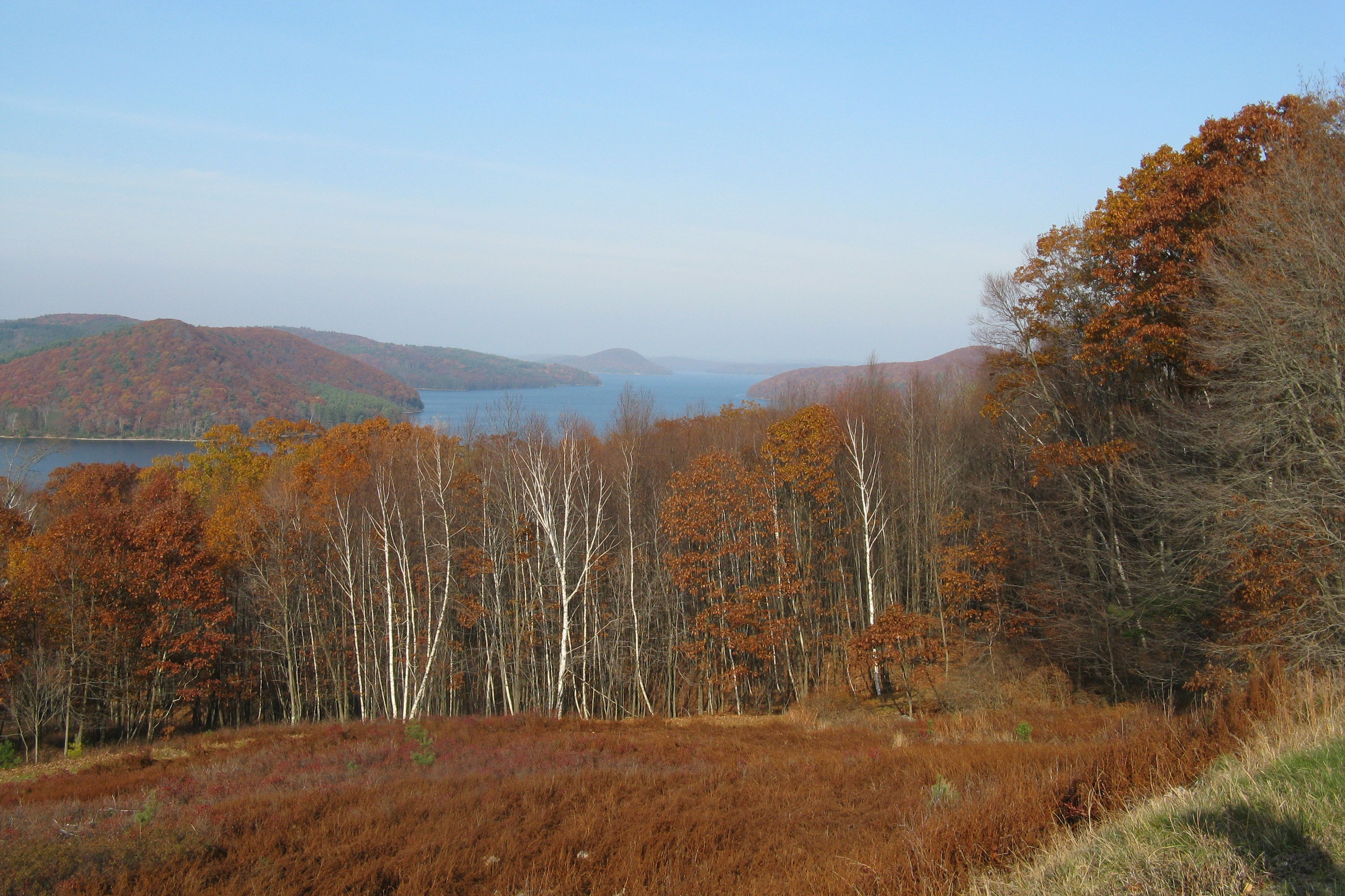 Overlooking Quabbin Reservoir and former site of Enfield, now submerged.  Photo on Wikimedia Commons by John Phelan