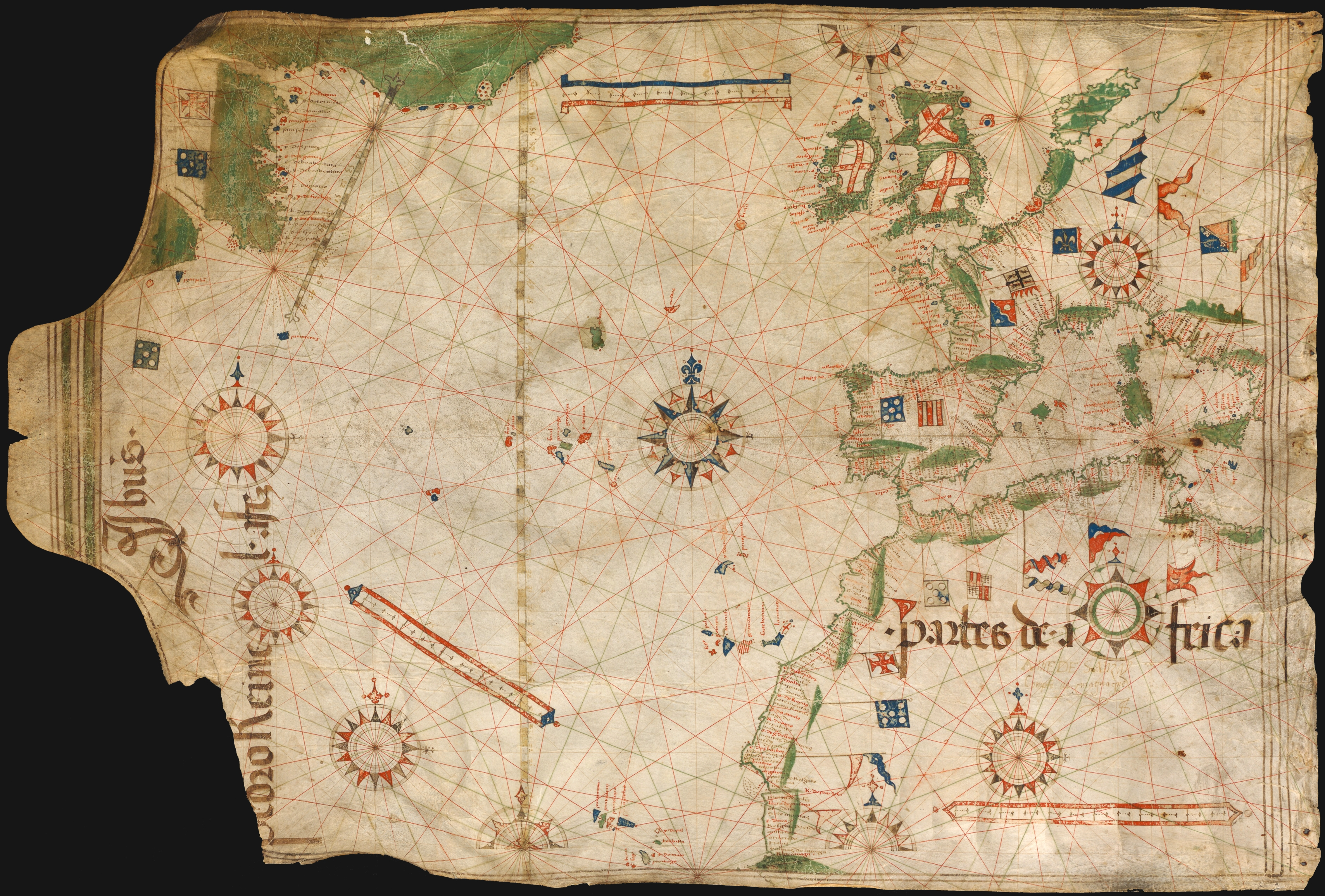 A Portuguese chart of the Atlantic dated 1504. Image uploaded by Joaquim Gaspar to Wikimedia Commons.