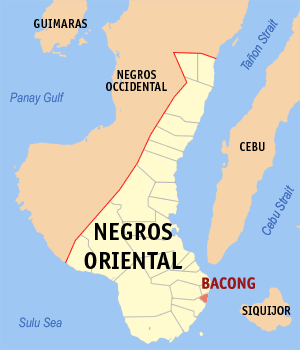 Map of Negros Oriental showing the location of Bacong