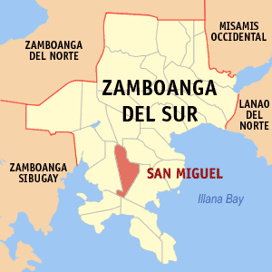 Map of Zamboanga del Sur showing the location of San Miguel