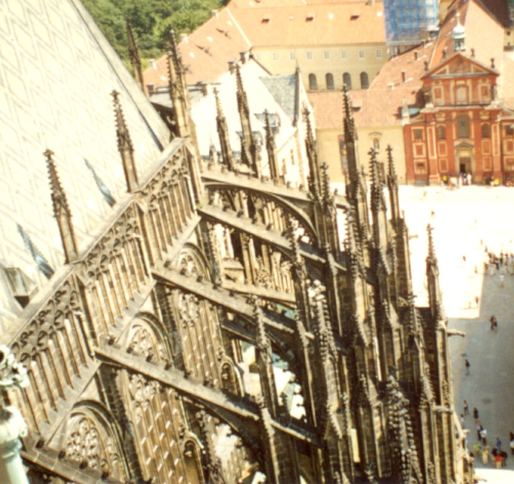 Pinnacles on flying buttresses in St. Vitus Cathedral in Prague.