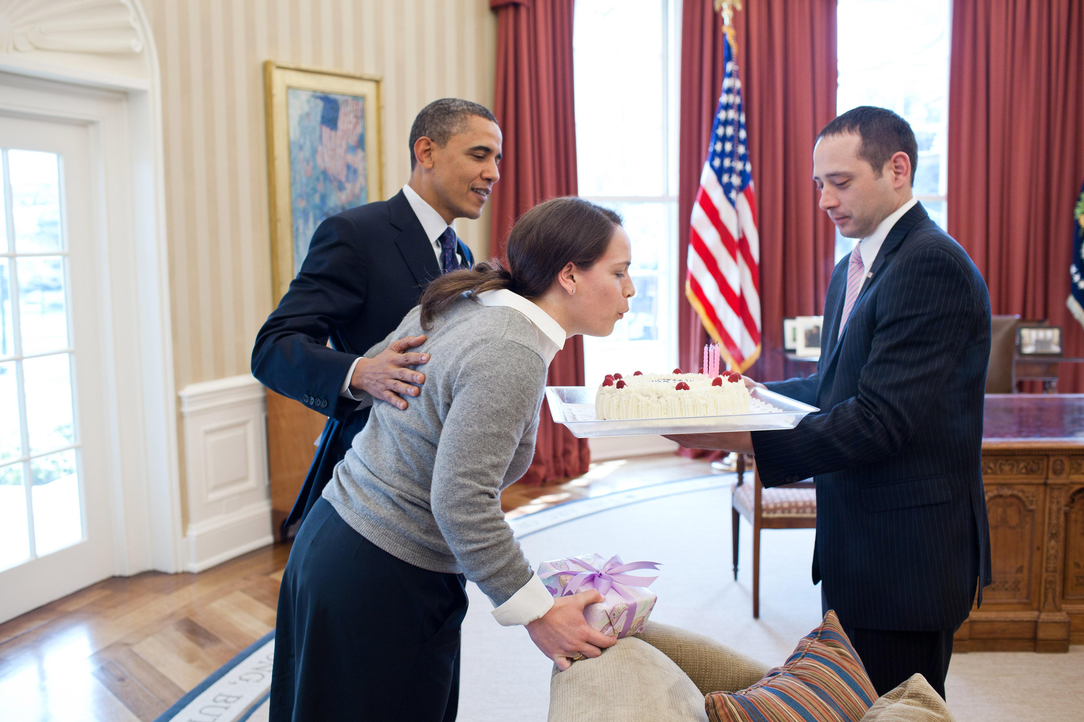 Fantastic File President Barack Obama Surprises Personal Secretary Katie Funny Birthday Cards Online Inifodamsfinfo