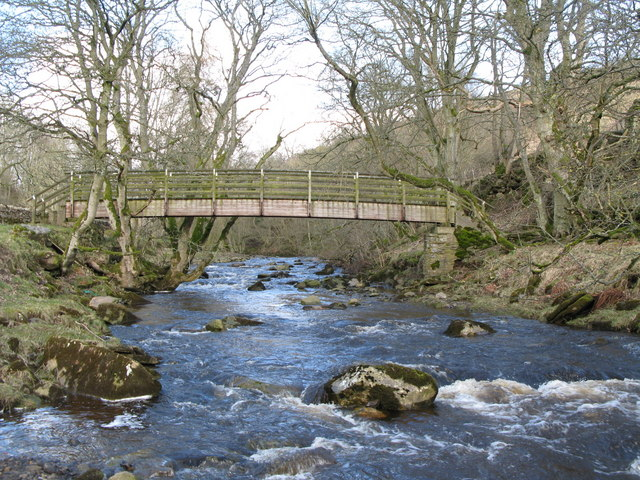 Rookhope Burn and the footbridge for the Weardale Way - geograph.org.uk - 728968