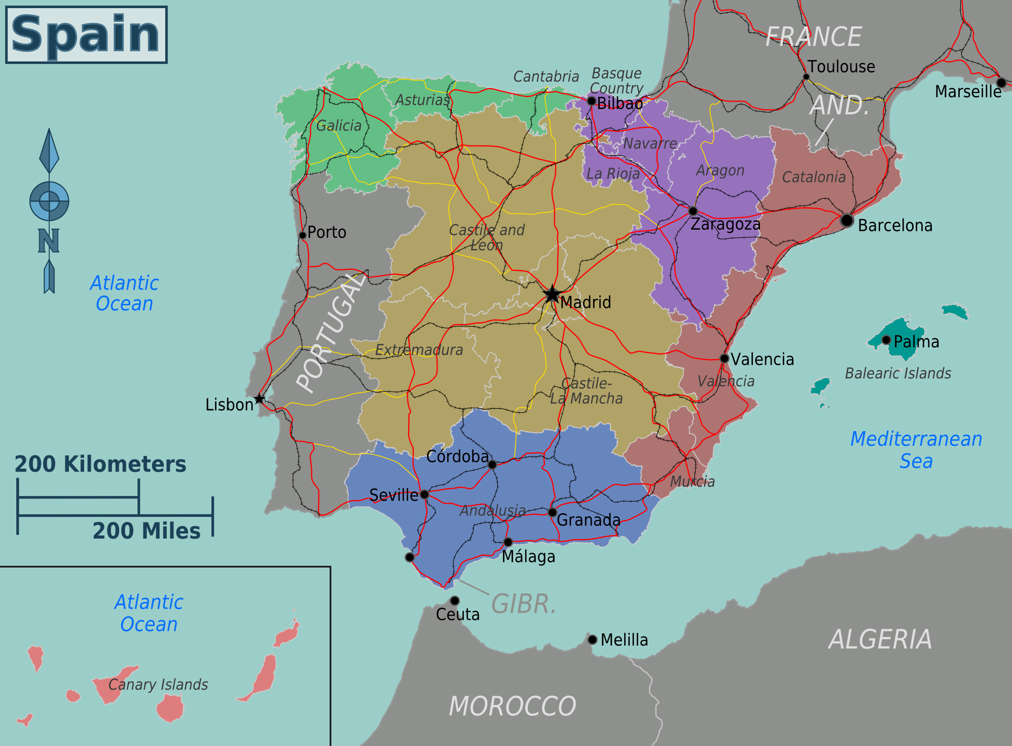 Map Of Spain With Distances.The Best Map Of Spain Spain Traveller