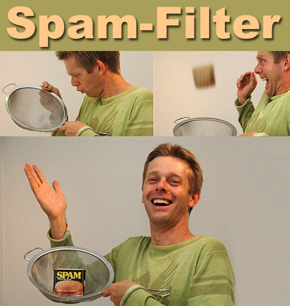 Cartoon with three panels. First panel is a man looking at a sieve. Second panel is a man surprised as something drops into his sieve. The third panel is him smiling with a can of Spam in his sieve.