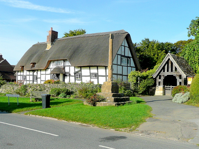 Photo of Thatched cottage, preaching cross and lych gate