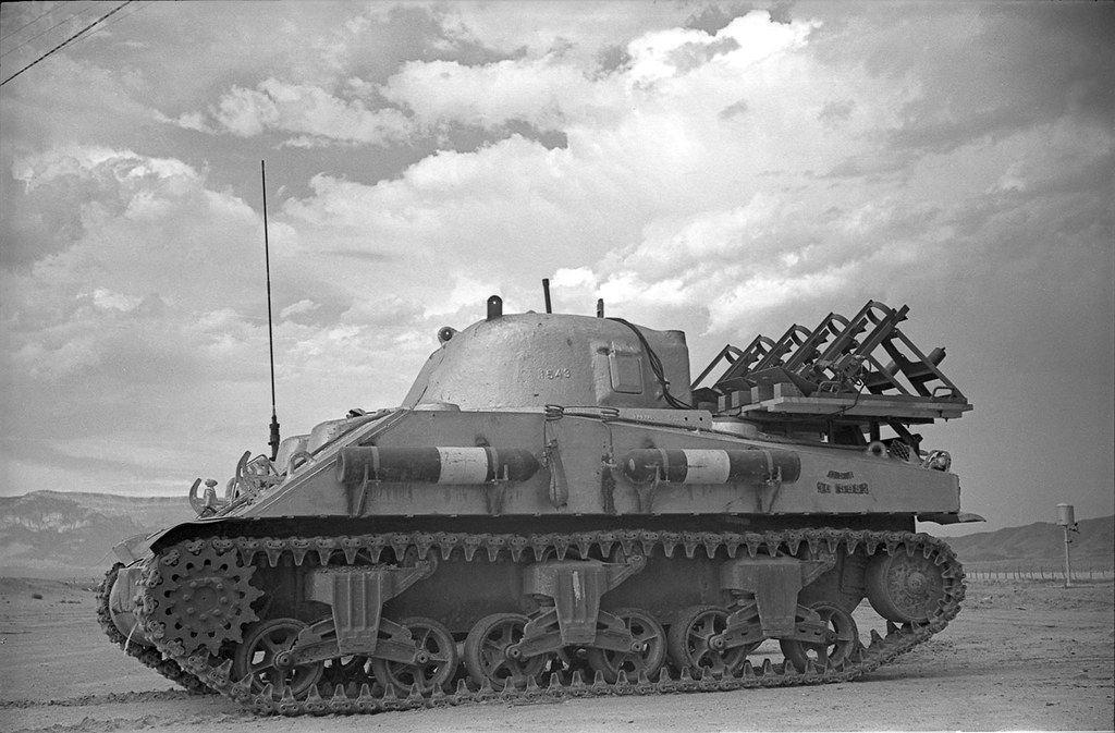 Lead-lined Sherman tank used in Trinity test Trinity Test - Lead lined Sherman tank.jpg