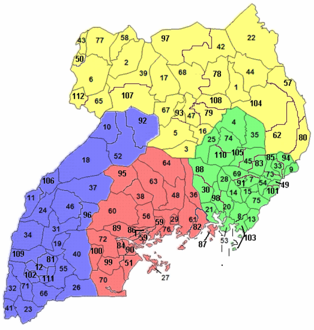 A clickable map of Uganda exhibiting its 111 districts and Kampala.