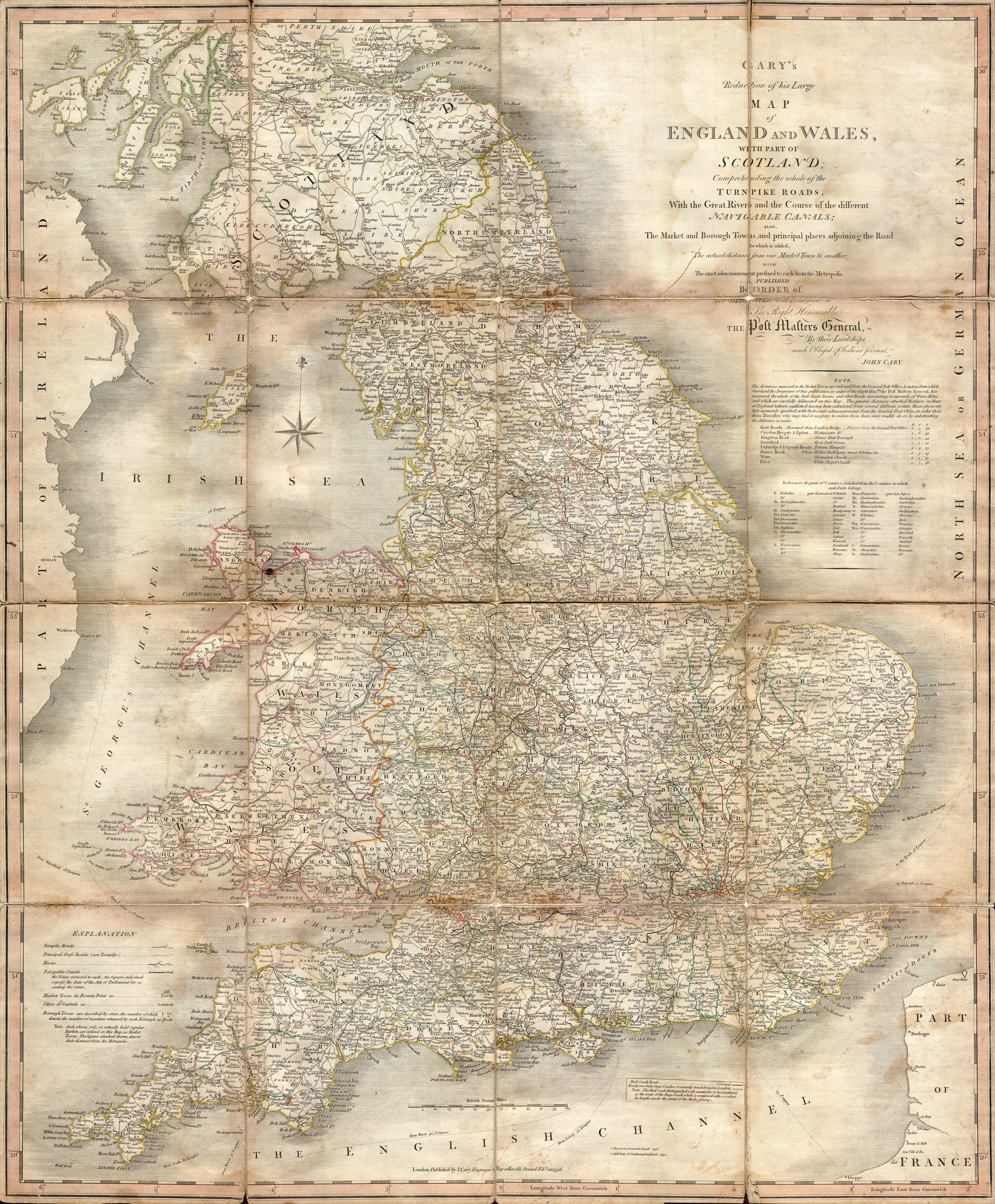 File 1796 Cary Folding Case Map Of England Wales Geographicus