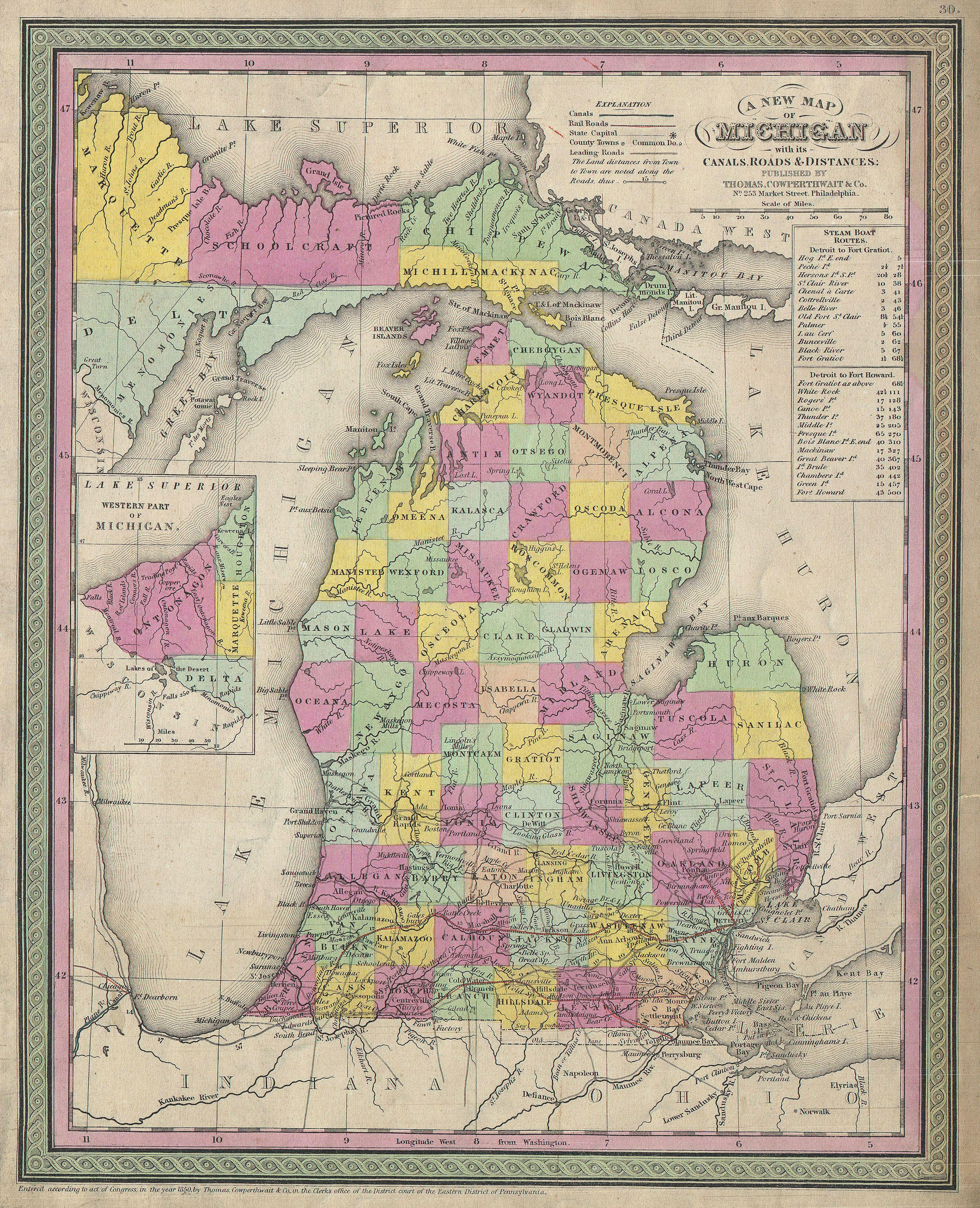 File1853 Mitchell Map of Michigan Geographicus Michigan