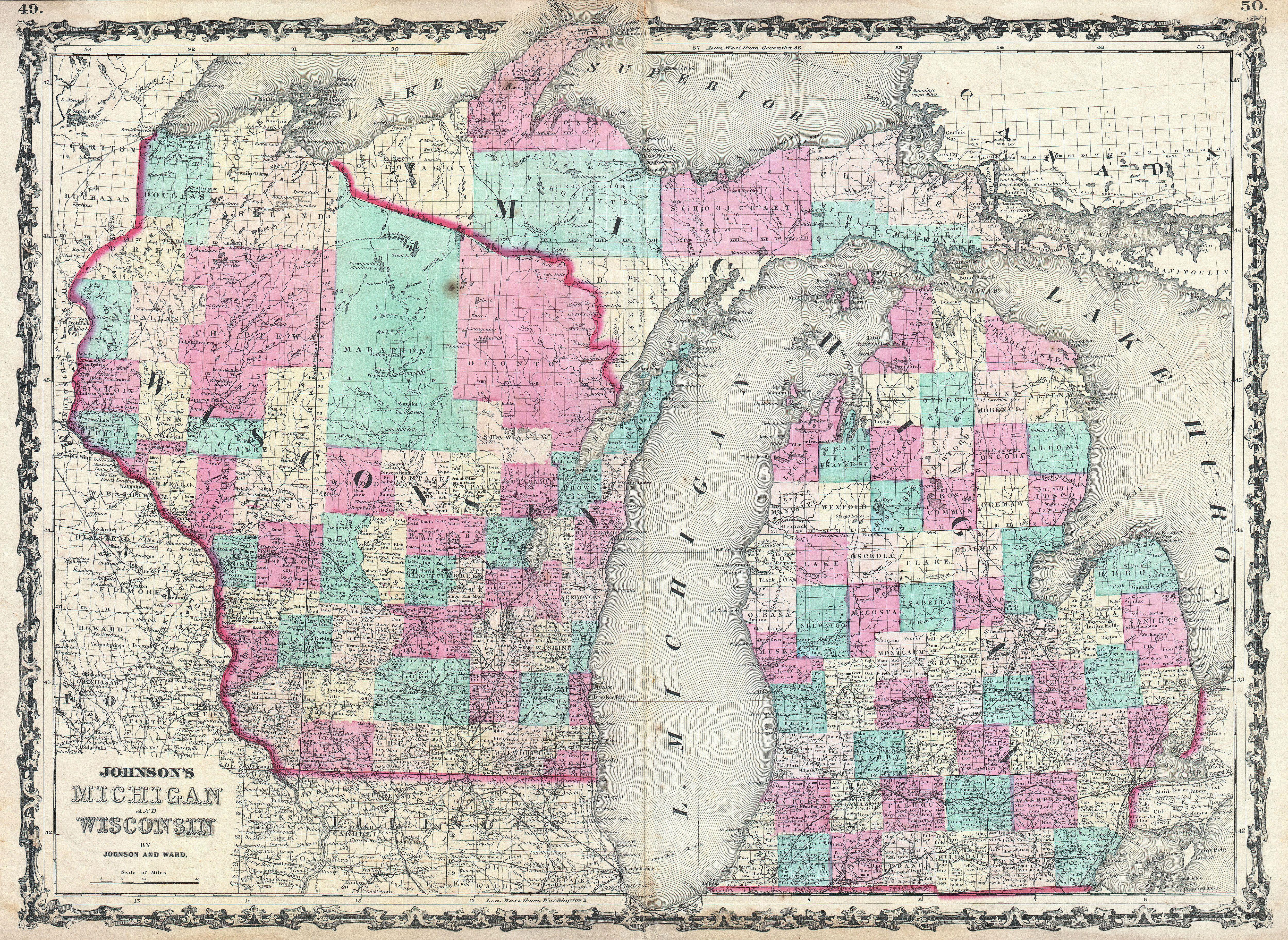 File:1862 Johnson Map of Michigan and Wisconsin   Geographicus