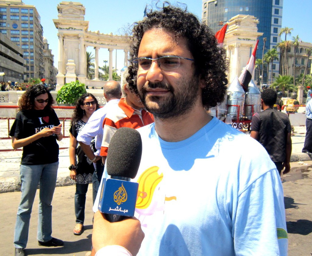 Alaa Abd El-Fatah speaking to aljazeera.jpg