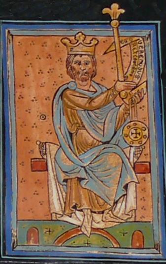Bermudo II según una miniatura medieval de la Catedral de León.
