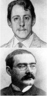 composite image of two photographs of two younger men, the first has a pencil moustache and is looking into the camera; the second has a large moustache and spectacles and is seen in semi-profile from his right