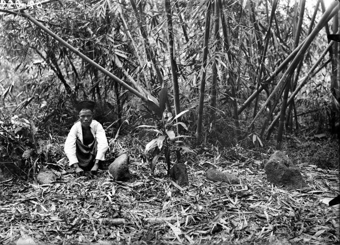 File:COLLECTIE TROPENMUSEUM Man poseert bij megalieten op Zuid-Sumatra TMnr 10025696.jpg