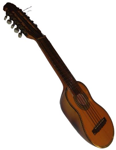 Un charango, un instrumento de cuerda pulsada tradicional andino.