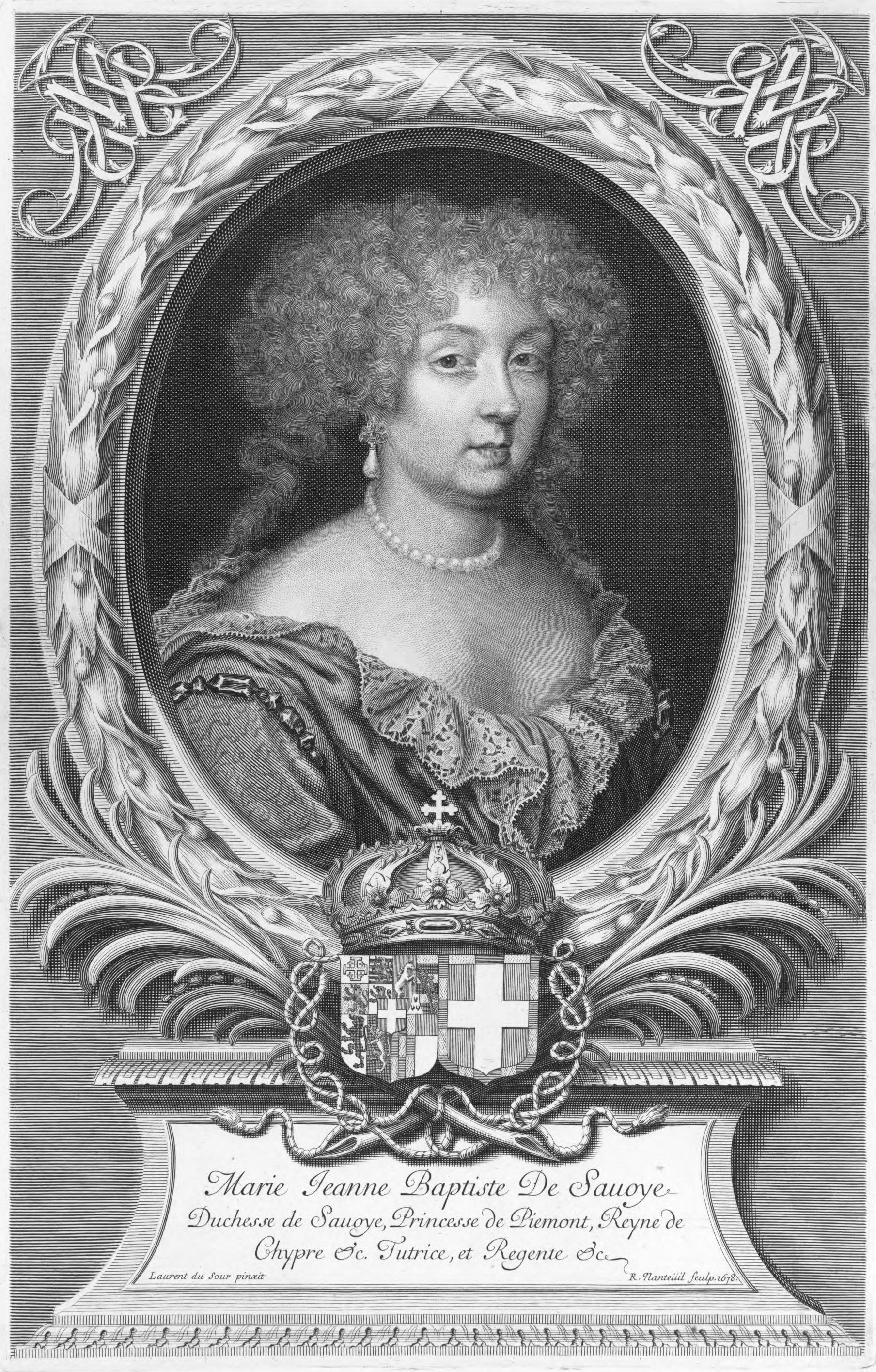 Fichier:Engraved portrait of Marie Jeanne Baptiste of Savoy by Robert Nanteuil.jpg
