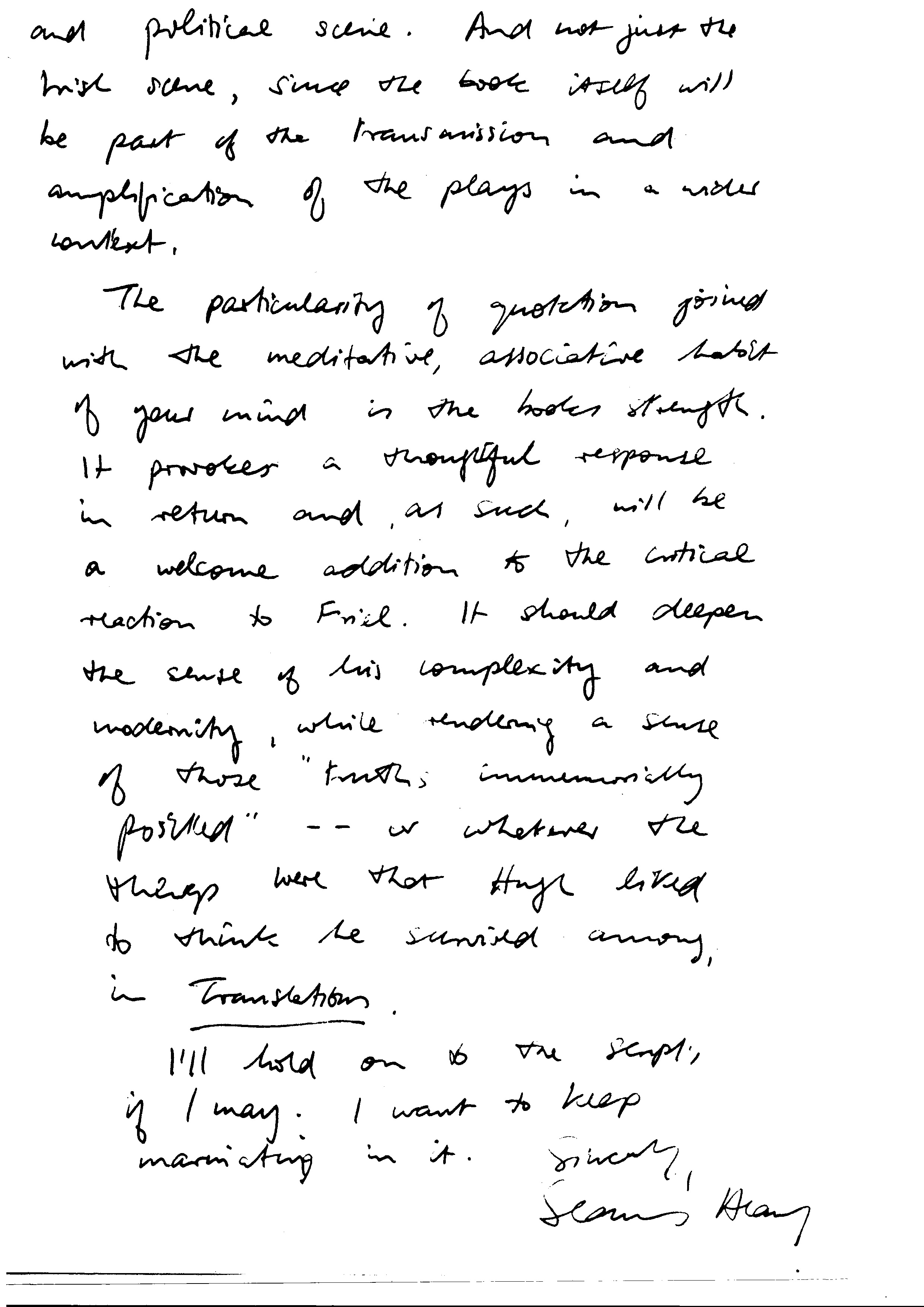 File:Handwritten_letter_from_Seamus_Heaney_to_Richard_Pine,_page_2 on Nelson Handwriting