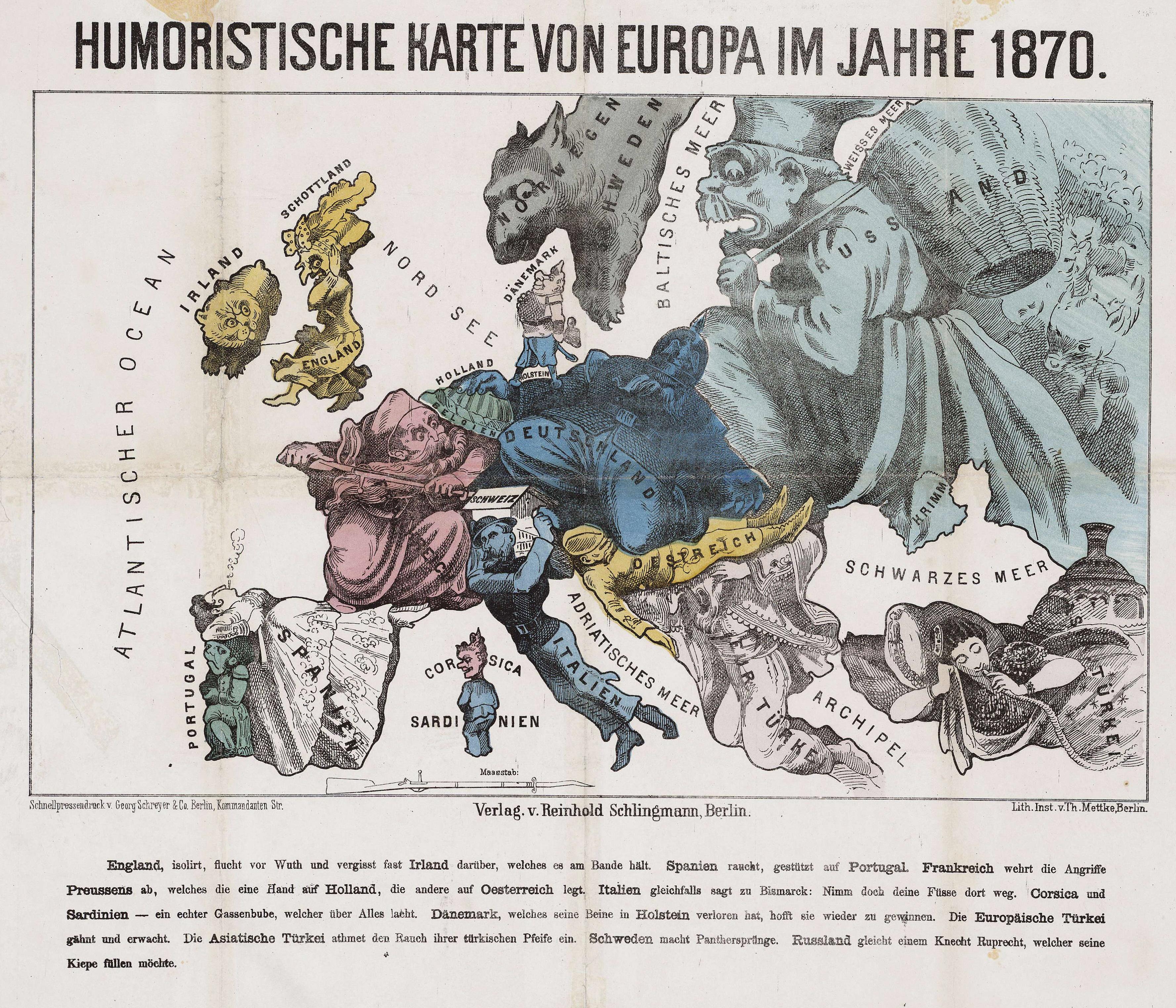 Humoristische Karte Von Europa 1914.Datei Humoristische Karte Europa 1870 Jpg Wikipedia