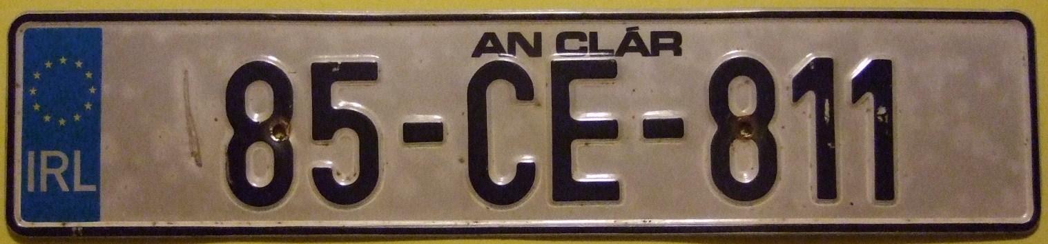 file ireland county clare 1985 license plate flickr. Black Bedroom Furniture Sets. Home Design Ideas