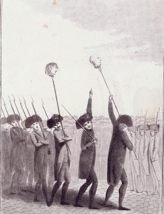 Têtes de Jacques de Flesselles et du Marquis de Launay au bout de piques