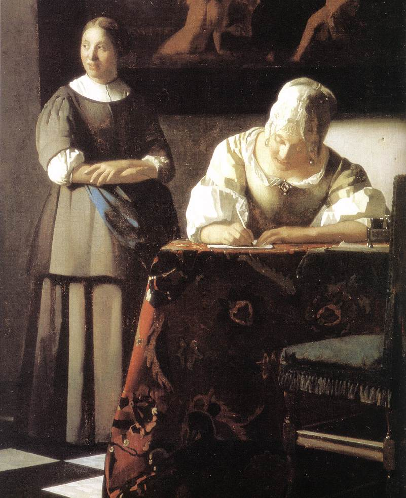 Johannes Vermeer A Lady Writing A Letter With Her Maid