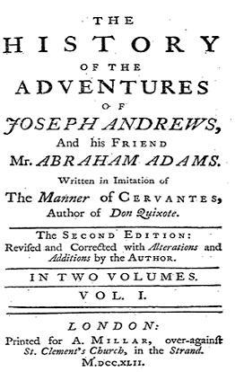 Титульная страница «Истории приключений Джозефа Эндрюса и его друга Эйбрахама Адамса»