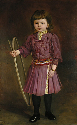 Portrait of girl with hoop & stick ca. 1900