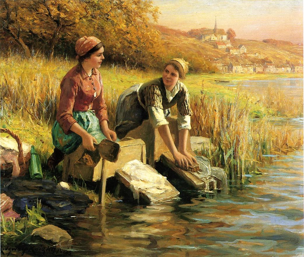 painting of two washerwomen beside stream