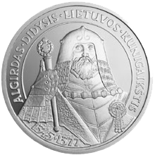 Coin bearing the image of Algirdas, who gained the Duchy of Lithuania from his brother in 1345
