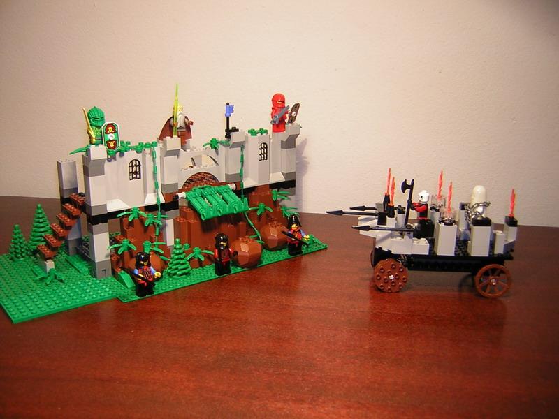 Description: Ghost attacking the castle - made of Lego bricks