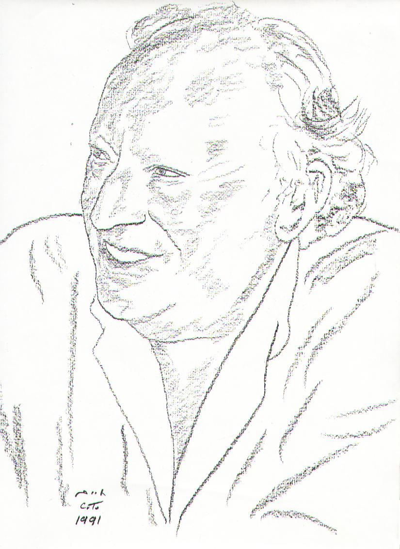 Drawing of Leon Uris by [[Chaim Topol]]