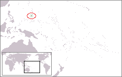 Location of Guam in the western Pacific Ocean.