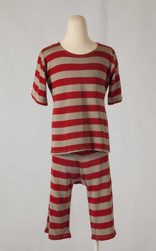 Fichiermagio Swimming Costume For A Man Red And Grey Striped