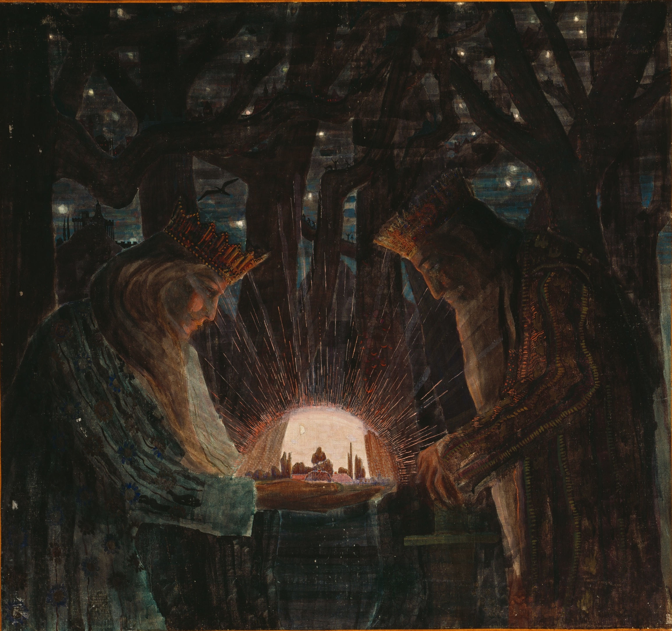 A 1909 Illustration Of Kings In Dark Forest