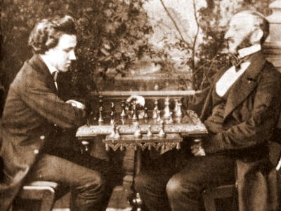 Paul Morphy (left) dominated all opposition in his brief chess career (1857-58). Morphy Lowenthal 1858.jpg
