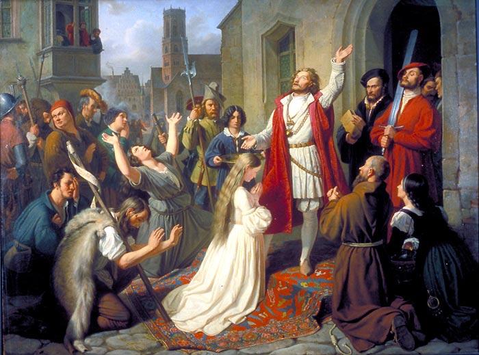 John of Leyden in the baptism of girls.